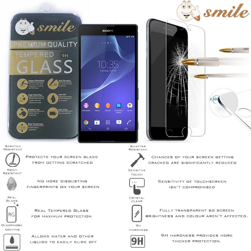 Smile HD Tempered Glass Sony Xperia T2 Ultra - T2 Ultra Dual