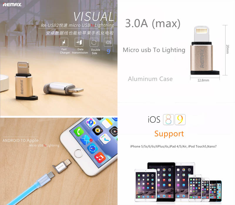 """Remax Lightning 8-Pin to Micro USB Adapter A-USB2. """""""