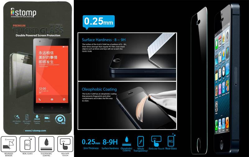 iStomp Slim Tempered Glass 0.25mm Xiaomi RedMi - RedMi 1S